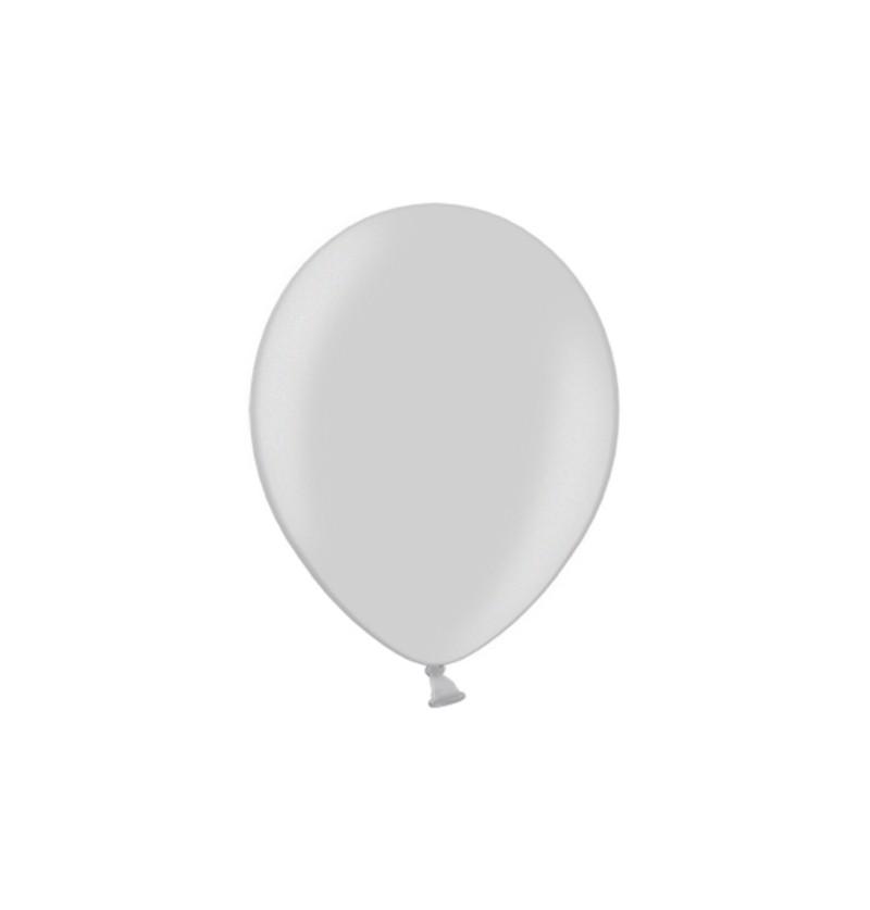 Set de 100 globos color plateado de 29 cm