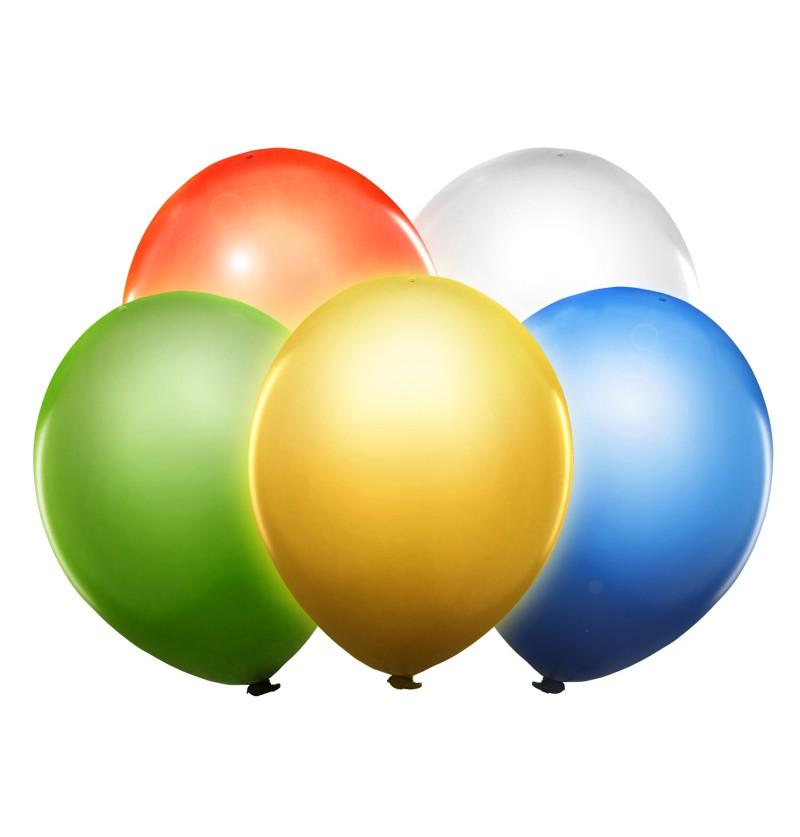 Set de 5 globos colores surtidos de látex con LED