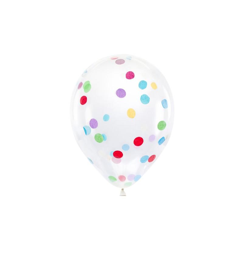 Set de 6 globos de látex con confeti de círculos de colores
