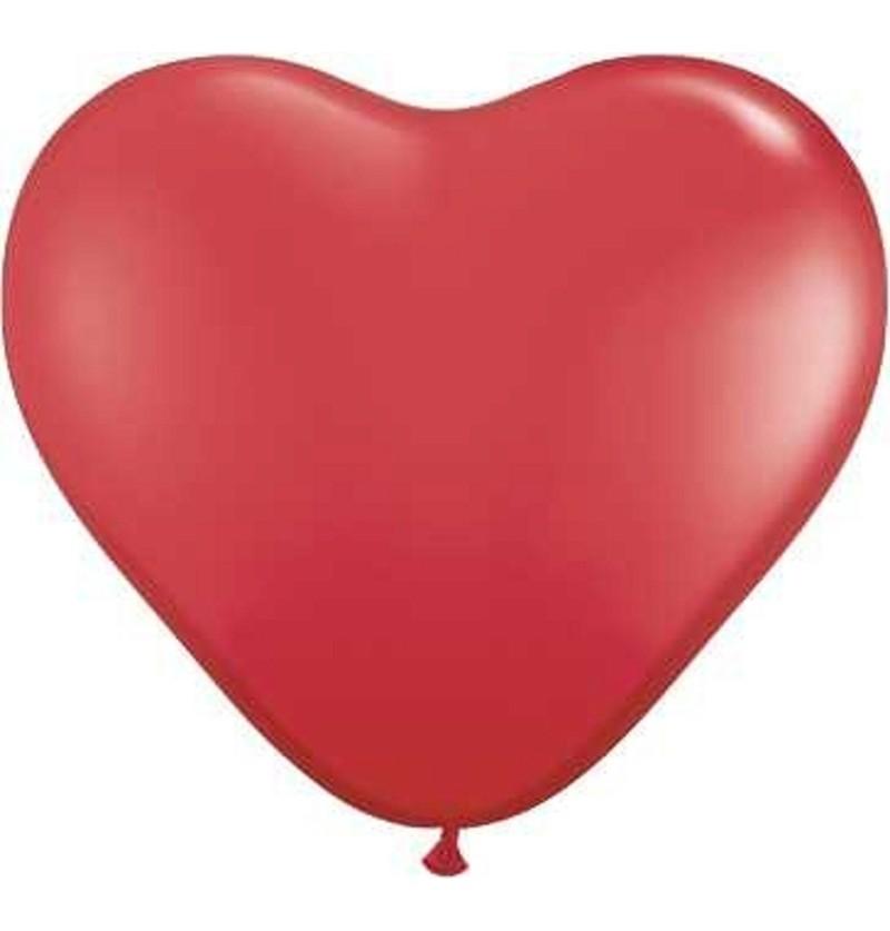 Set de 6 globos de látex con forma de corazón rojo