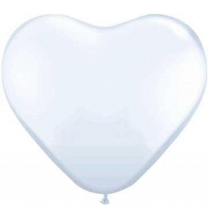 Set de 6 globos de látex con forma de corazón blanco