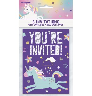Set de 8 invitaciones fiesta Unicornio
