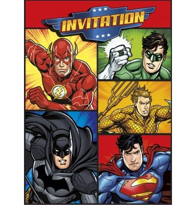 Set de 8 invitaciones Liga de la Justicia