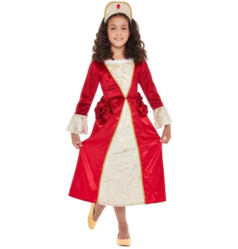 Disfraz de Princesa Medieval rojo para niña