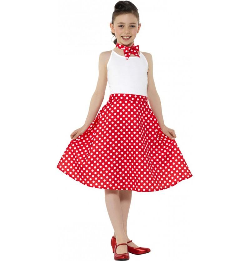 Disfraz de Años 50 rojo con lunares para niña