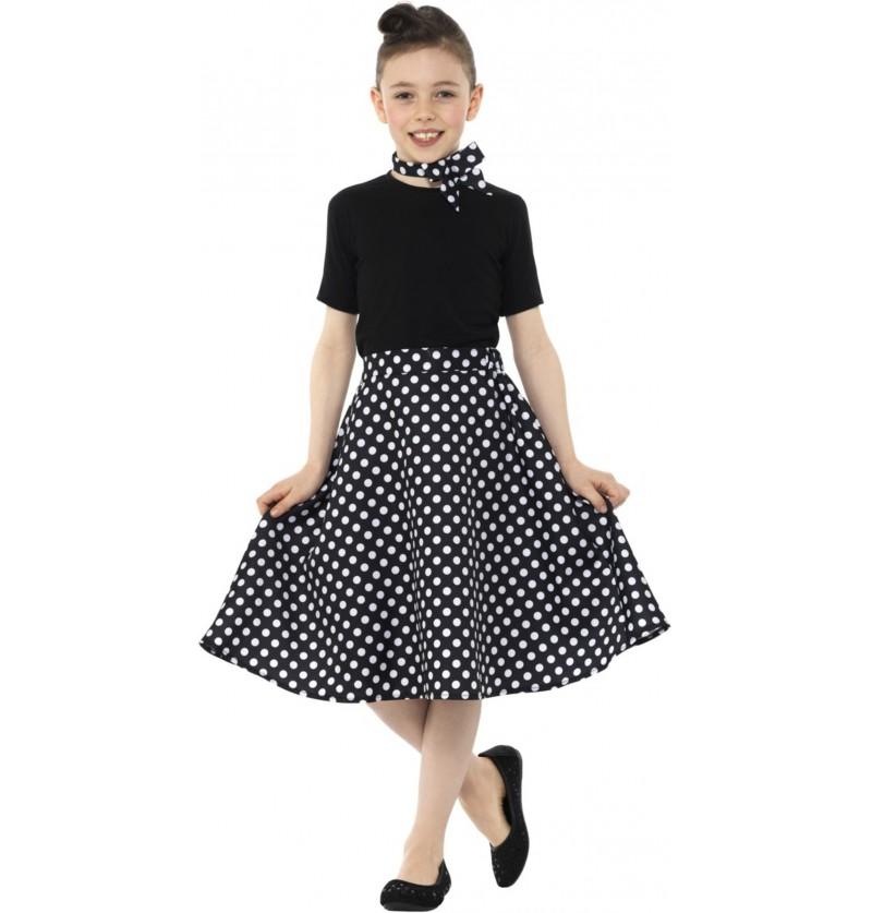 Disfraz de Años 50 negro con lunares para niña