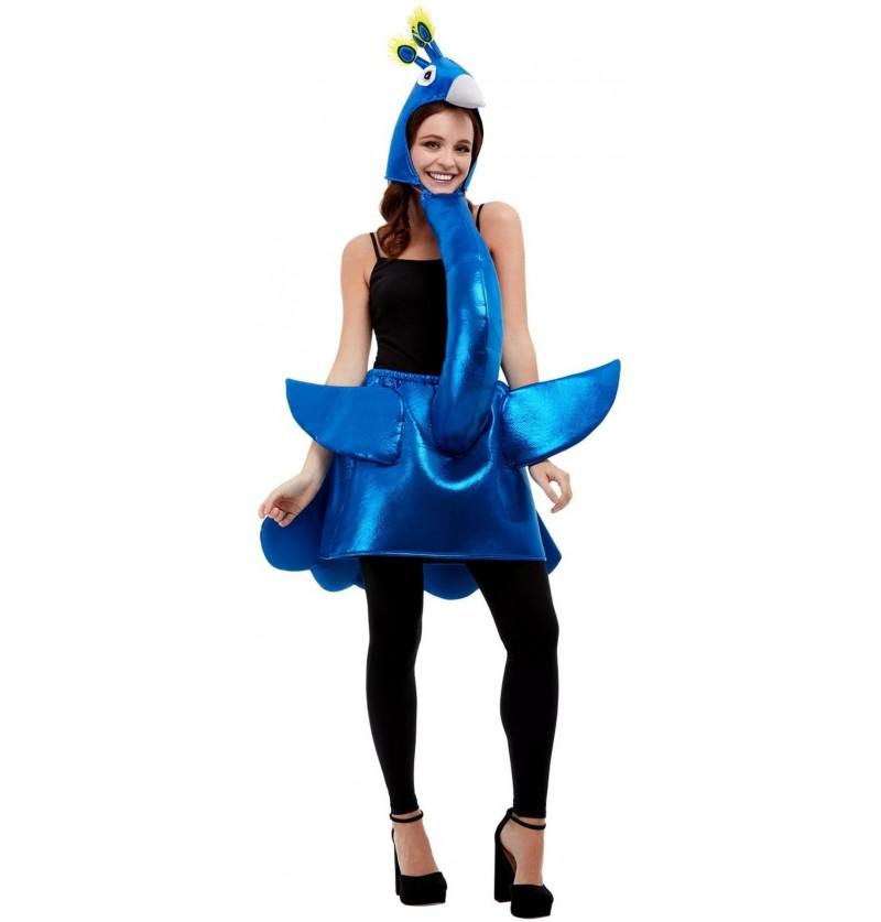 Disfraz de Pavo Real azul para adulto