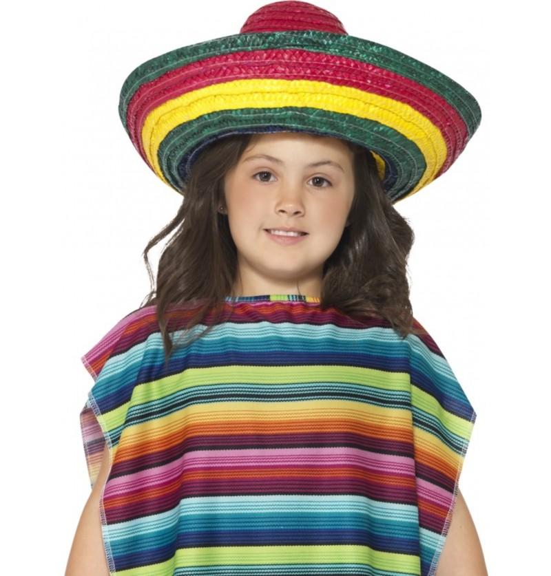 Sombrero mexicano multicolor infantil unisex