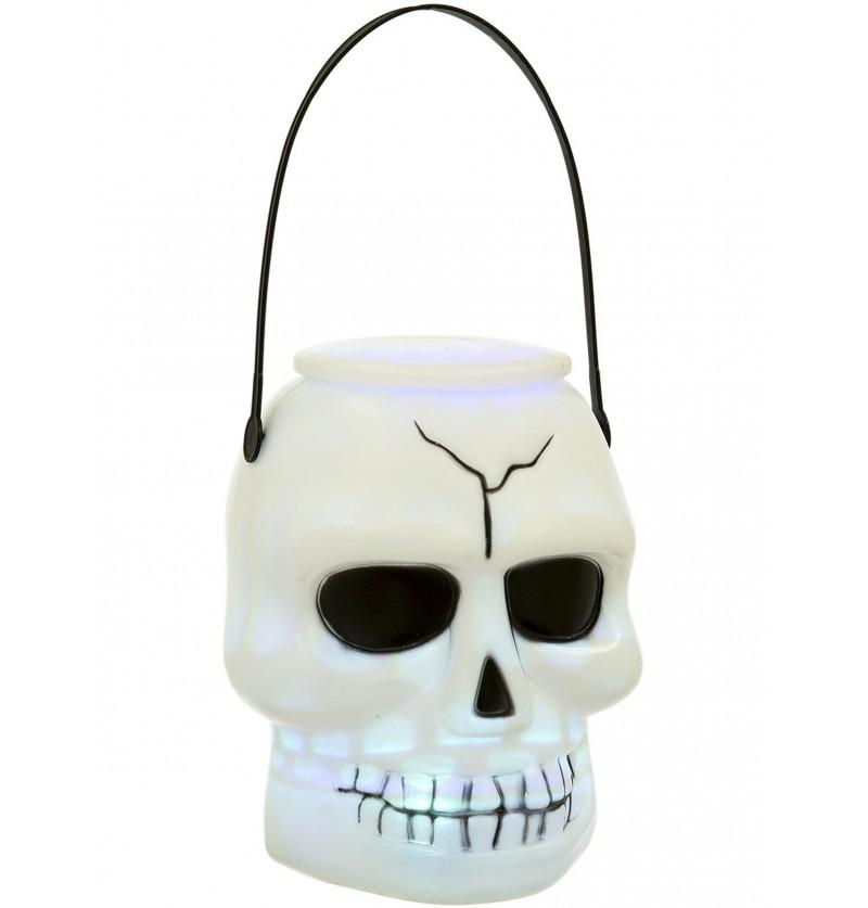Cesta de calavera con luz para Halloween (17 cm)