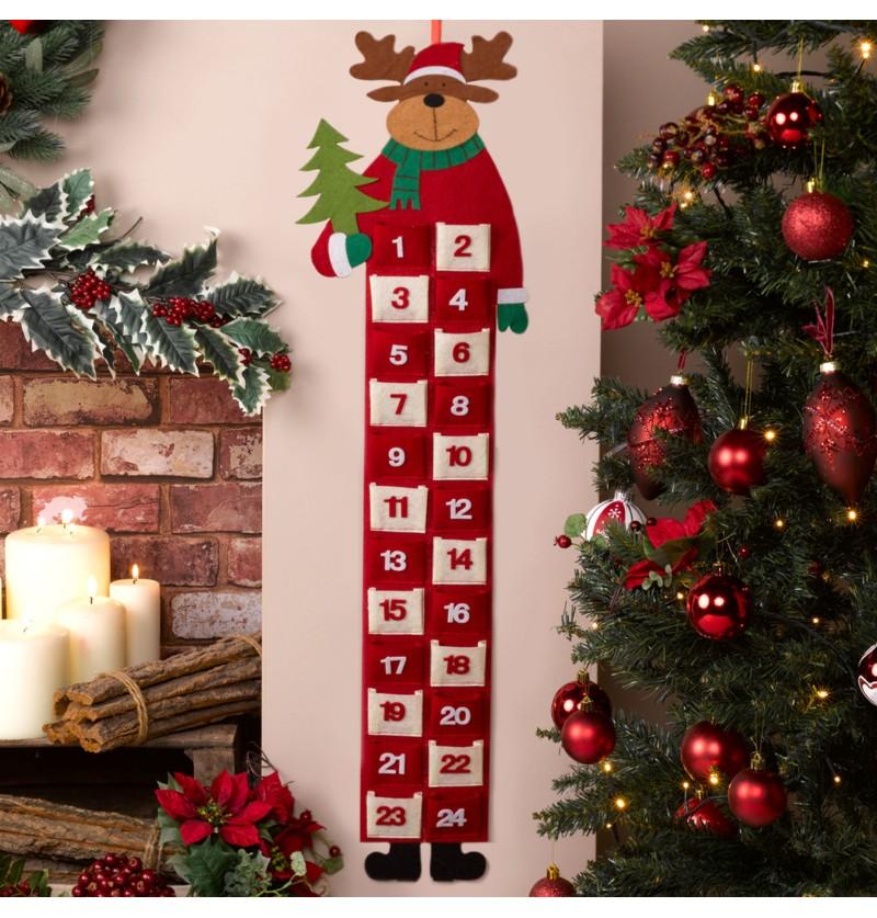 Calendario de adviento de reno navideño