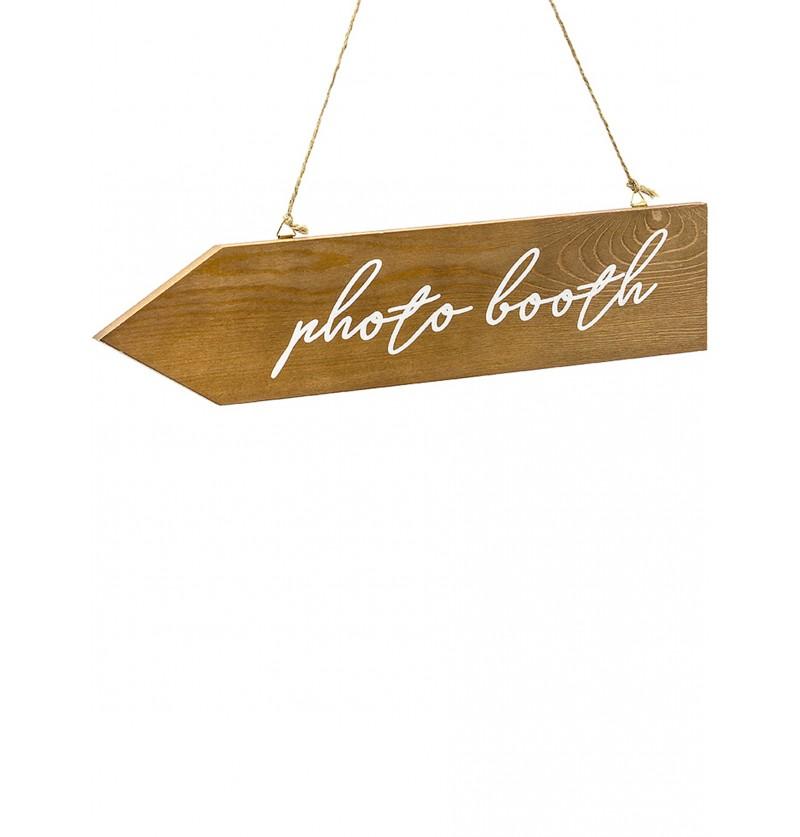 "Cartel de señalización de madera ""Photo booth"""