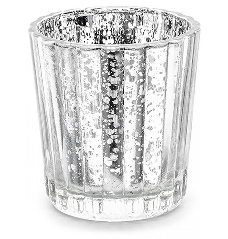 Porta velas de cristal plateado (6 cm)