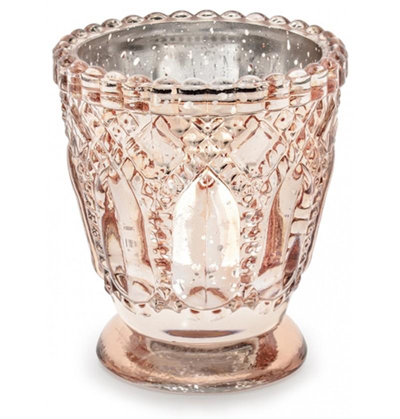 Porta velas de cristal oro rosa (8 cm)