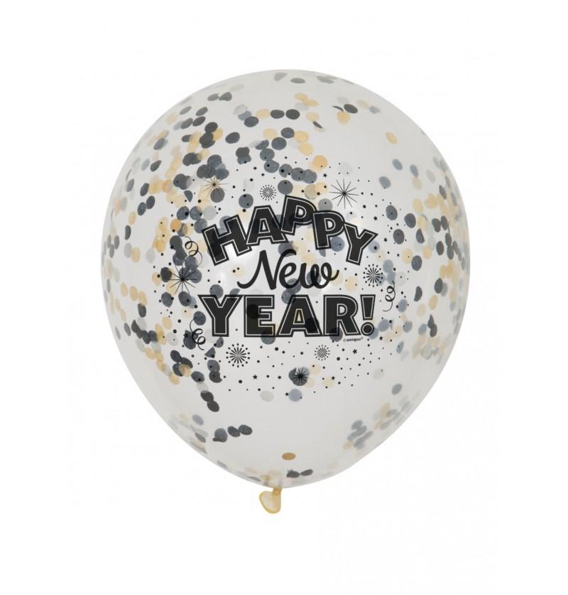 6 globos de nochevieja (30 cm) - Happy New Year!