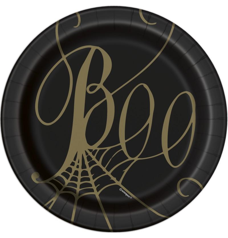 8 platos de postre negros de telaraña (18 cm) - Golden Spider