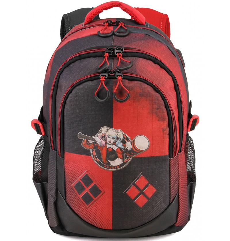 mochila de harley quinn con puerto usb dc comics