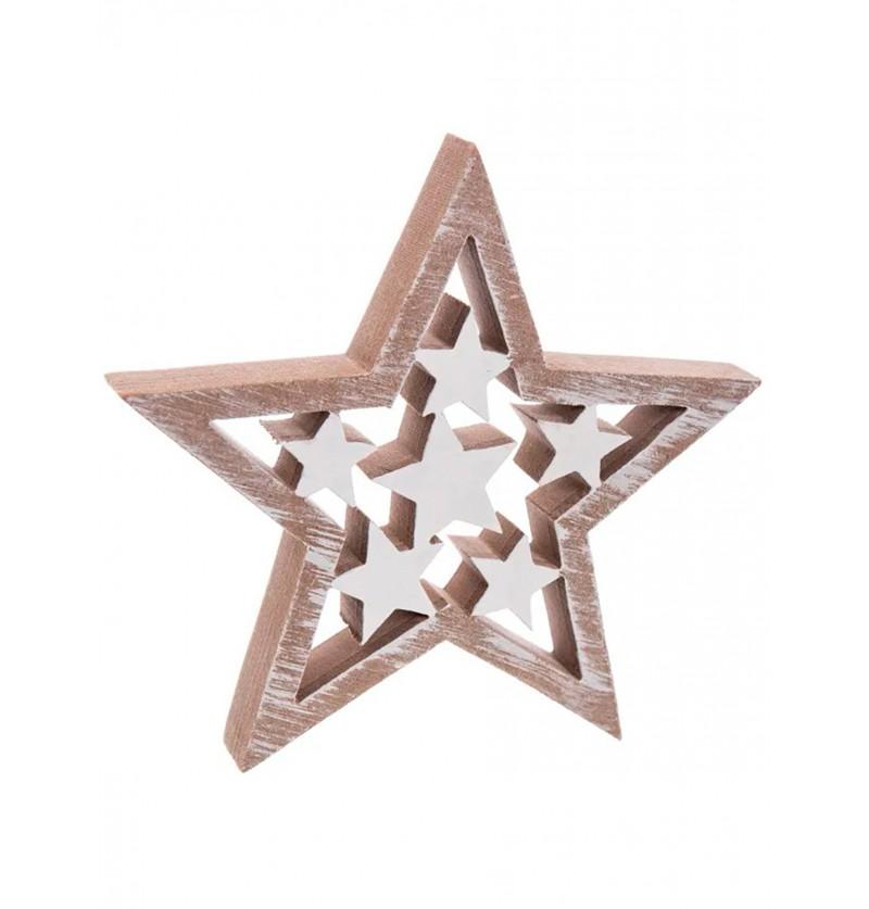 estrella navidea de madera