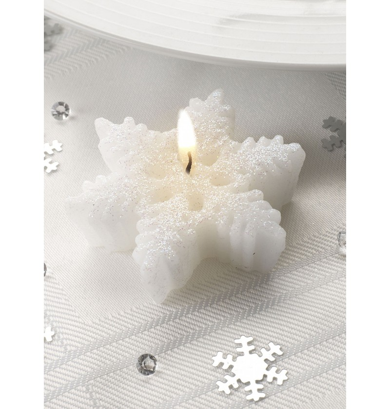 3 velas con forma de copo de nieve snowflake collection