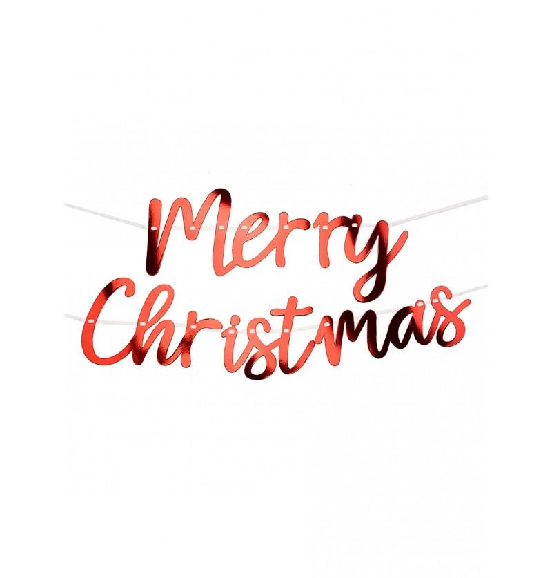 guirnalda merry christmas roja 2 m red christmas