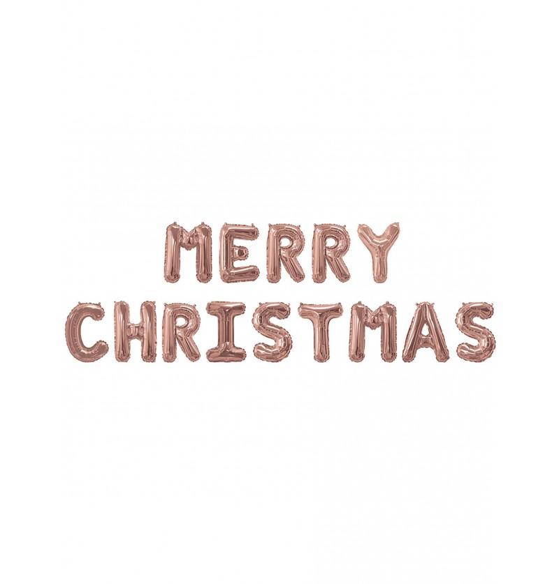 globo de foil merry christmas oro rosa pink christmas