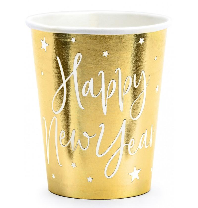 6 vasos fin de ao happy new year dorados jolly new year