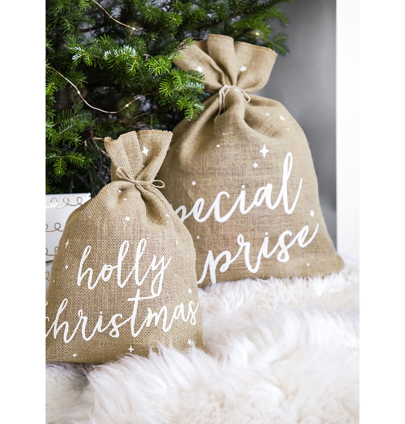 saco holly christmas decorativo