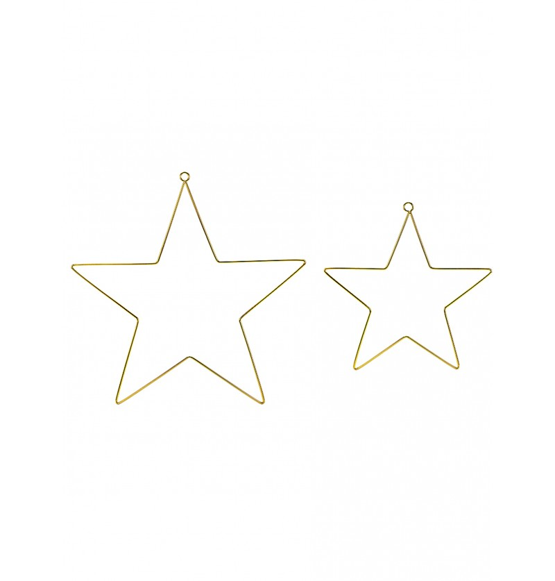 2 estrellas decorativas de metal doradas