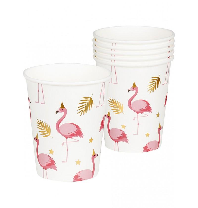 6 vasos de flamencos flamingo party