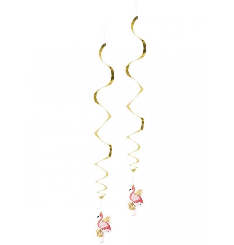 decoracin colgante de flamencos rosa y dorados flamingo party