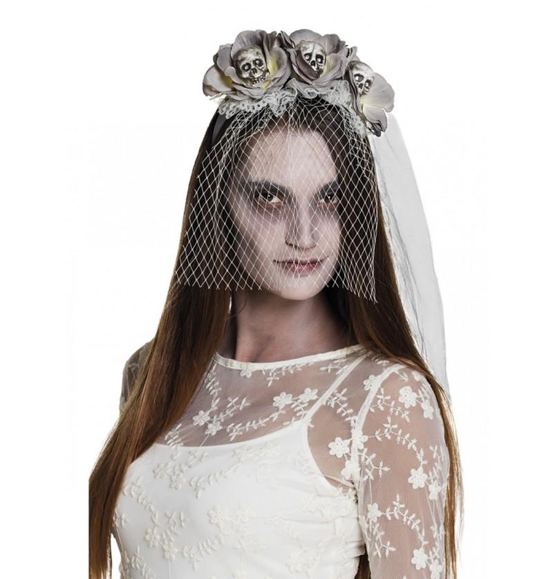 Diadema con flores y calaveras de novia zombie para mujer