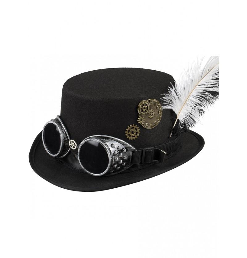 Sombrero de copa negro con gafas y plumas steampunk para adulto
