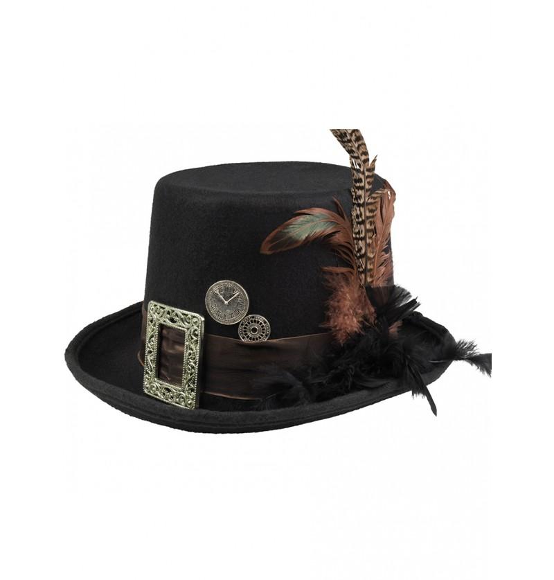 Sombrero de copa negro con hebilla y plumas steampunk para adulto
