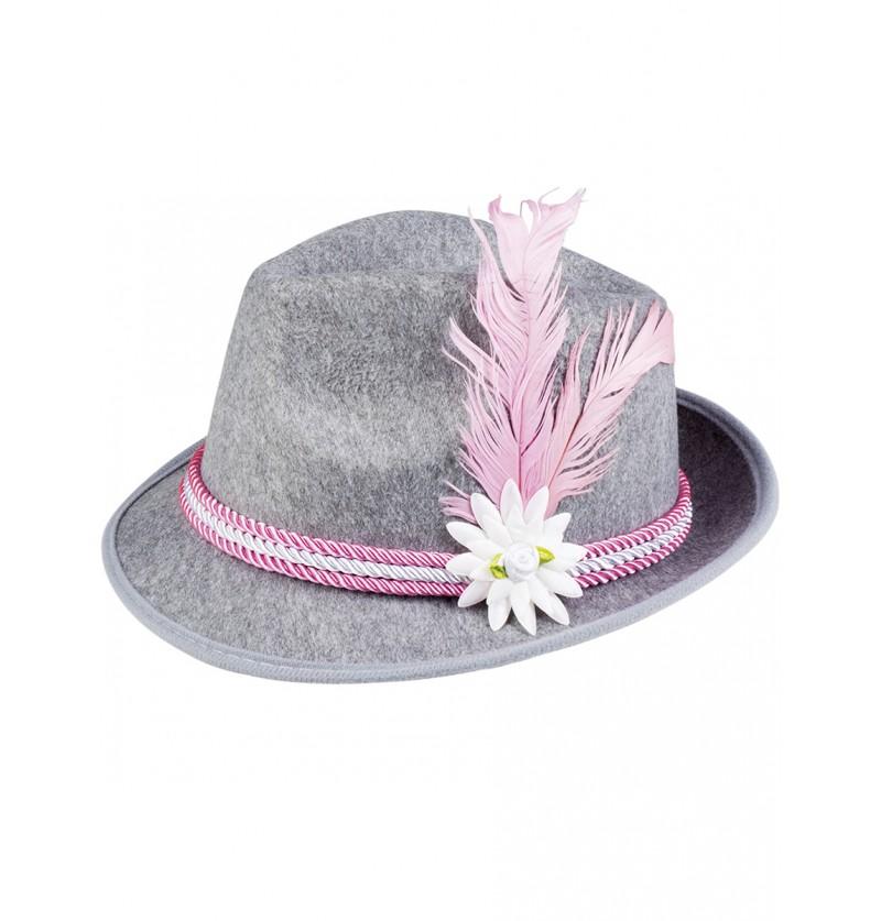Sombrero de bávaro rosa con pluma y edelweiss para hombre