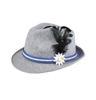 Sombrero de bávaro azul con pluma y edelweiss para hombre