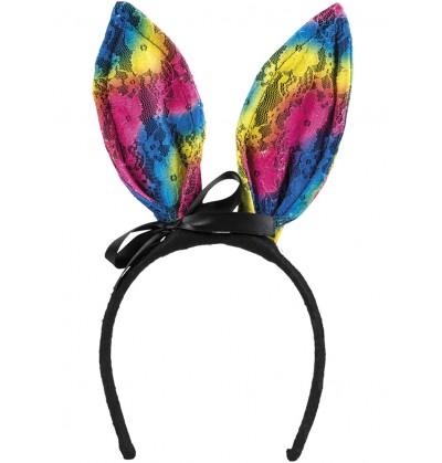 Diadema de conejita tricolor para adulto