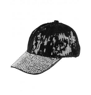 Gorra de lentejuelas negra para mujer
