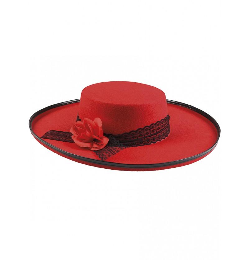 Sombrero cordobés rojo con flor para mujer