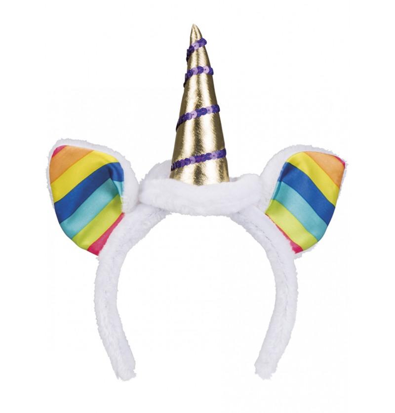 Diadema de unicornio arcoíris para adulto