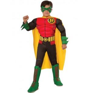 disfraz de robin de batman deluxe para nio