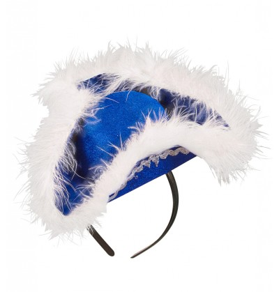 Diadema de tricornio azul con marabú para mujer