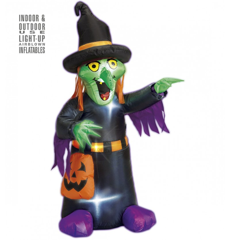 Figura decorativa de bruja hinchable luminosa gigante