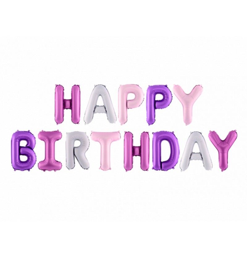 globos happy birthday tonos morados surtidos 340 cm celebration party