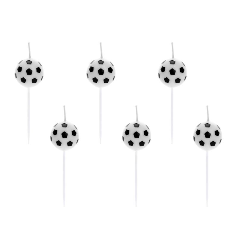 6 velas de balones de ftbol 25 cm football party