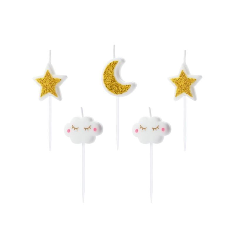 5 velas de nubes y estrellas 2 3 cm little star