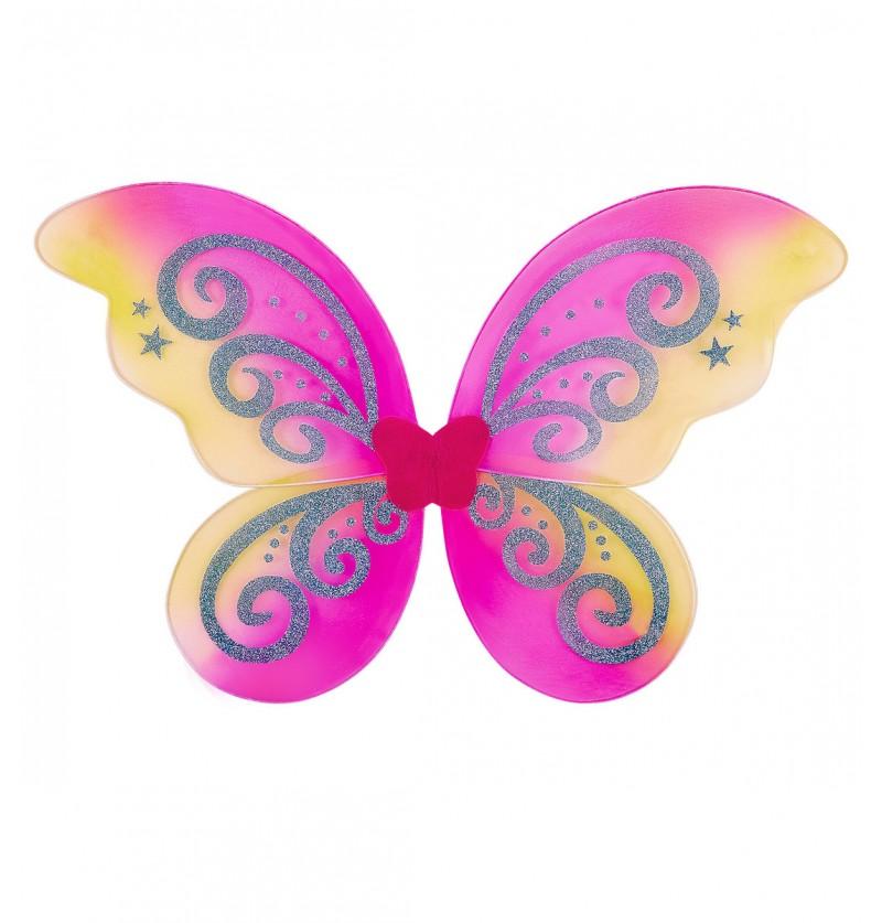 Alas de mariposa rosa con purpurina para niña