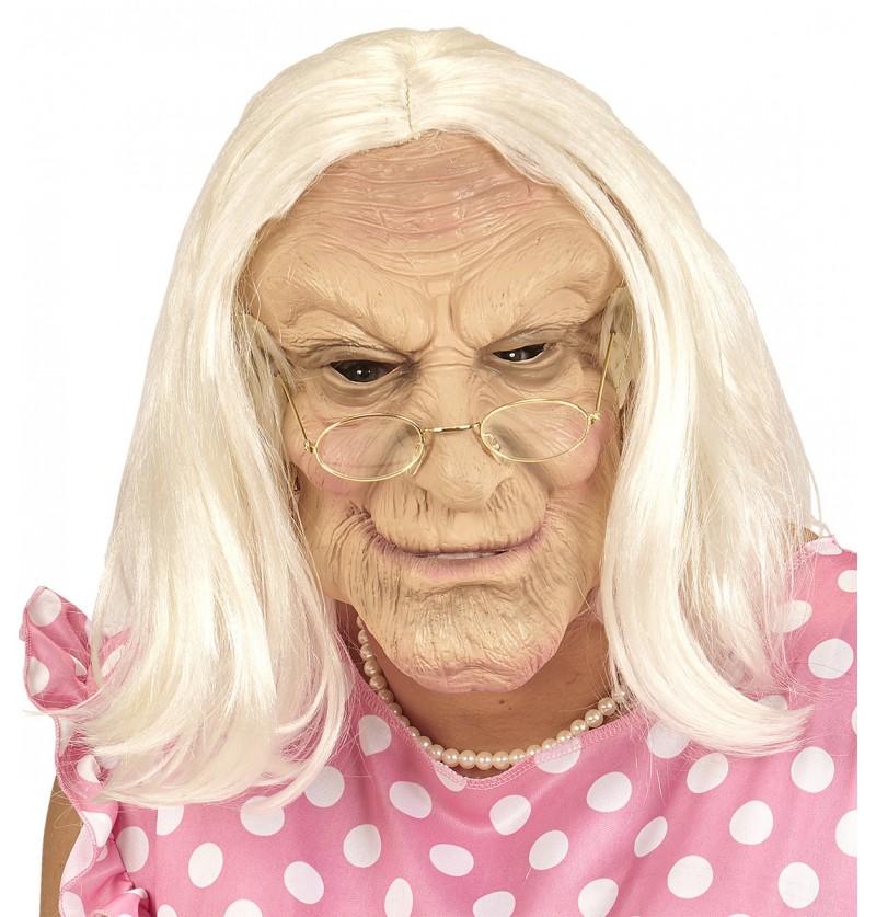Máscara de anciana con peluca gris para adulto