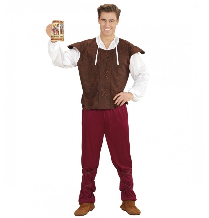 Disfraz de tabernero medieval tradicional para hombre