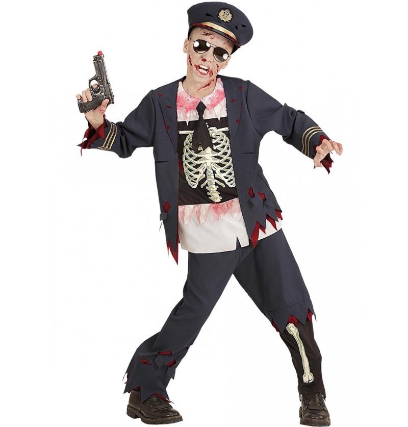 Disfraz de policía zombie ensangrentado para niño
