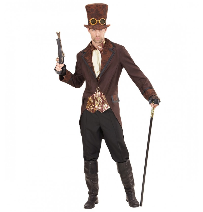 Disfraz de steampunk elegante marrón para hombre