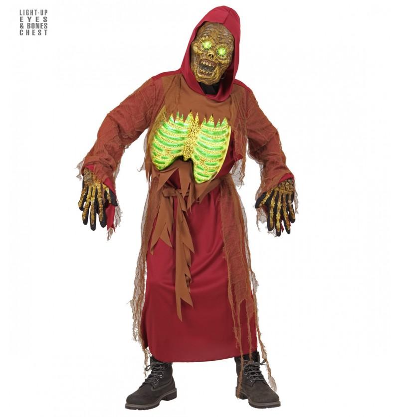 Disfraz de esqueleto zombie luminoso infantil